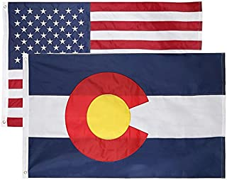 2 Pack - Nylon Sate & American Flag 3x5 Combo Pack - Embroidered Oxford 210D Nylon - Durable & Long Lasting – 4 Stich Hemming. Vivid & Fade Resistant. by Cascade Point (Colorado + USA (2 Pack))