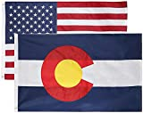 State + USA Flags 3x5 Feet Combo Pack - Embroidered 210D Nylon Flags with Sewn Panels (Colorado + USA 3x5)