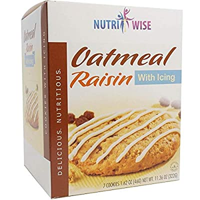 NutriWise - Oatmeal Protein Diet Cookies   7/Box   Low Calorie, Low Carb, Low Fat, Low Sugar