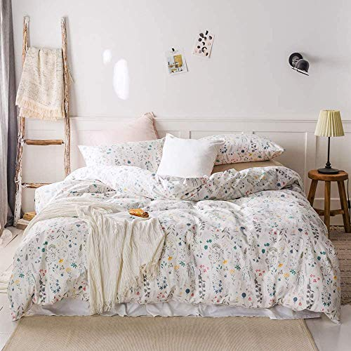 EnjoyBridal Floral Teens Bedding Sets King 100% Cotton Women Duvet Cover King with 2 Pillow Shams Flower Plant Girls Comforter Cover King for Toddler Adults White Quilt Cover, No Comforter