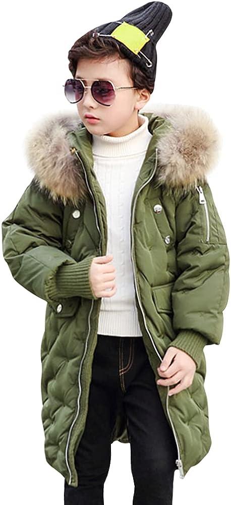 LSPAR Kids Long Coats Boys Fur Hood Down Jacket Girls Snowsuit Windproof Overcoat Outerwear Jacket