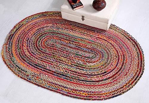 Mishran umweltfreundlicher, mittelgroßer ovaler geflochtener Teppich mit natürlicher Jute, mehrfarbig, recyceltes Material, 90 x 150 cm
