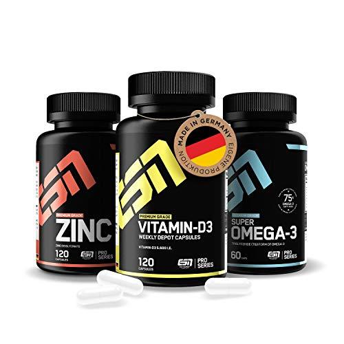 ESN Vitamin D3 (5.600 I.E) + Omega 3 (1000mg) + Zink (25mg) im 3er Set – hochdosierte & natürliche Premium Nahrungsergänzungsmittel im Langzeitvorrat - Laborgeprüfte Qualität 100% Made in Germany