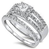 Oxford Diamond Co Princess Cut 2 Ring Wedding Bridal Set .925 Sterling Silver Ring Size 9