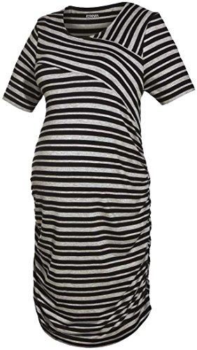 Esmara® Damen Umstands-Kleid, Kurzarm (grau schwarz gestreift, Gr. S 36/38)