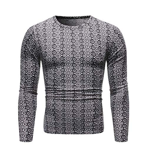 Buy ZIAxiav Mens Ugly Christmas T-Shirt, Geometric Print Regular Fit Crewneck Long Sleeve Blouse (S,...