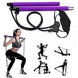 Gikersy Pilates-Stangen-Set, mit Widerstandsband, tragbare Yoga-Stange, mit Fußschlaufe, für Sport, Fitness, für Zuhause, Fitnessstudio, Training, Fitnessgerät, Brust-Expander und Armabzieher