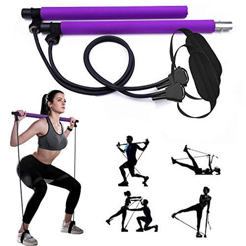 GIKERSY Pilates Stangen Set, mit Widerstandsband, tragbare Yoga Stange, mit Fußschlaufe, für Sport, Fitness für Zuhause, Fitnessstudio, Training, Fitnessgerät, Brust-Expander und Armabzieher