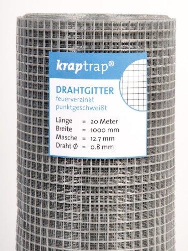 KrapTrap® 12.7 mm Masche, 20m x 1m Volierendraht, Drahtgitter, Drahtzaun, Käfigzaun, Kaninchendraht, Hasendraht