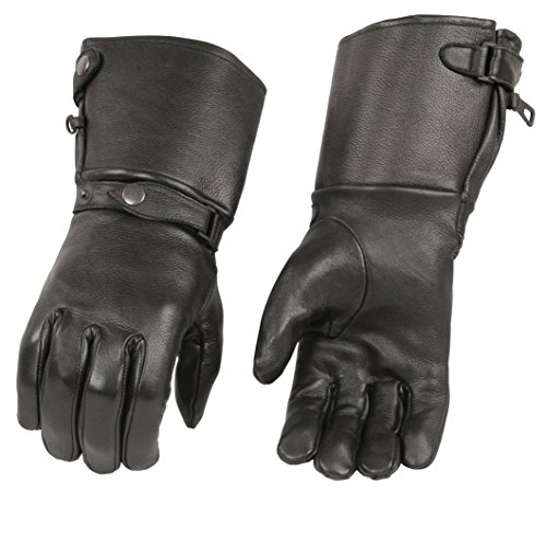 M-Boss Motorcycle Apparel BOS37502D Men's Black USA Deerskin Leather Gauntlet Gloves - 2X-Large