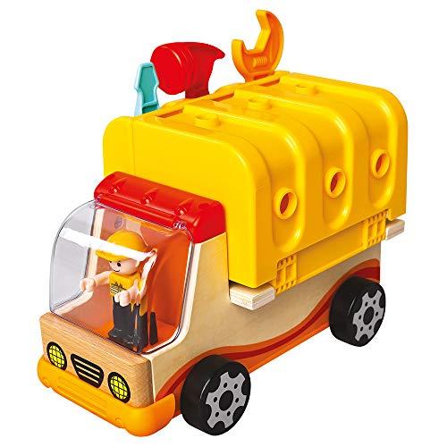 Mertens Holz-Multiauto, Holzspielzeug, (Kinderspielzeug ab 3 Jahre, 30-teilig, mit Auflieger aus Kunststoff - ausklappbar zur Werkbank, Größe ca. 31,5x21,5x15,5 cm), Mehrfarbig