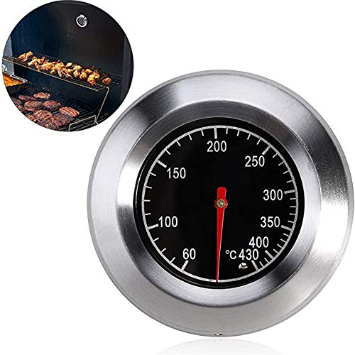 Edelstahl Analog, Edelstahl Thermometer, Edelstahl Thermometer Küche, Barbecue Thermometer BBQ Gasgrill Outdoor Grill Fleisch Raucher BBQ Ofen Thermometer 60-430 ℃