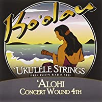 【KO'OLAU STRINGS】 ALOHI CONCERT WOUND 4TH コンサート用 ウクレレ弦 セット(高密度モノフィラメント繊維 4弦のみ巻弦 Low-G)