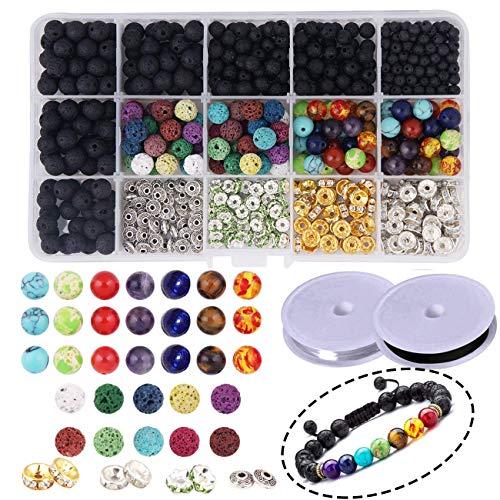 Perles de Lave -600Piècesé Perles de Chakra Pierre de Lave Roche Pierre Volcanique Pierre Précieuse avec Boîte de Rangement pour Bricolage Fabrication de Bijoux Bracelets Colliers