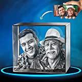 ArtPix 3D Crystal Photo, Personalized Gift With Your Own Photo, 3D Laser Etched Picture, Engraved Square Crystal, Memorial Birthday Gifts for Mom, Dad, Men, Women, Customized Anniversary Couples Gifts