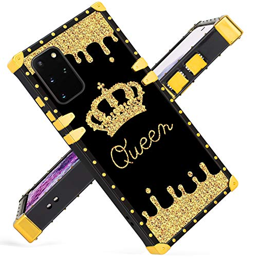 Fiyart Samsung Galaxy S20+ Plus Case Luxury Square Soft TPU and Hard PC Back Stylish Retro Cover (Gold Queen)