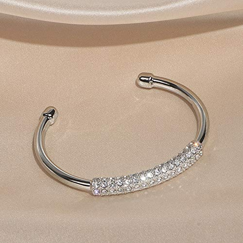 Xpccj Pulseras de lujo con cristales abiertos y brazaletes modernos de color dorado para mujer, accesorios de joyería de boda, pulsera para mujer (color de metal: imitación chapado en rodio)