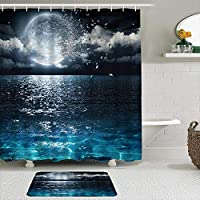 WOTAKA シャワーカーテン バスマット 2点セット 魔法の月の抽象的な分子散乱海面漂流月の断片暗黒の地球の夜 自家 寮用 ホテル 間仕切り 浴室 バスルーム 風呂カーテン 足ふきマット 遮光 防水 おしゃれ 12個リング付き