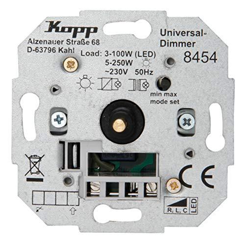Kopp Universal Dreh-Aus Dimmer Sockel, für LED, Phasenan-und Phasenabschitt.LED 3-100 Watt, Glühlampen 10-250 W, 845400188