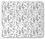 Hipster Mouse Pad, Patrón de estilo dibujado a mano con higiene dental Cuidado de los dientes Limpieza de los dientes, Rectángulo Alfombrilla de goma antideslizante, Tamaño estándar, Blanco y negro