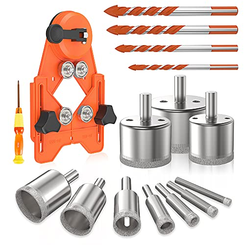 Welpettie 16pcs Tile Hole Saw Set Diamond Drill Bits Tile Opener with Hole Saw Guide Fixture Suitable for Ceramic Glass Tile Porcelain Marble 6-50mm
