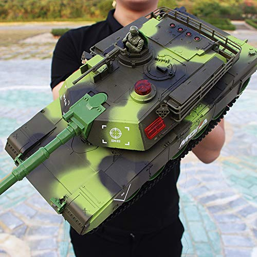XSLY Große Fernbedienung Battle Tank 44cm nachgeführt Ladegeländetankfahrzeug Modell Kinder Spielzeug-Auto Einkoppelbare RC Panzer Auto Boy Toys Abhebbarer Turret Spin Soundeffekte for Familienspiele