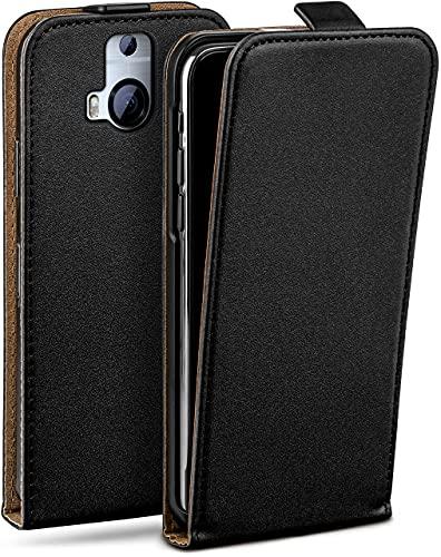 moex Flip Hülle für HTC One M9 Plus - Hülle klappbar, 360 Grad Klapphülle aus Vegan Leder, Handytasche mit vertikaler Klappe, magnetisch - Schwarz