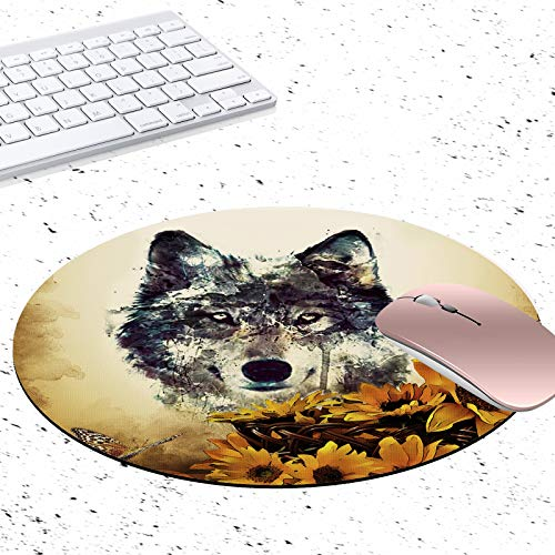 Gaming Mouse Pad, Abstract Wolf and Sunflower Non-Slip Rubber Circular Mouse Pads Customized Designed for Home and Office, 7.9 x 7.9inch