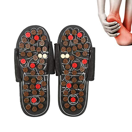 ZLGP Akupressur FußMassager, Akupunkt-Massage Hausschuhe, Sandalen Fußreflexzonenmassage, Health Care, Blood, Fußtentspannende Massage-Schuhe,Braun,44/45
