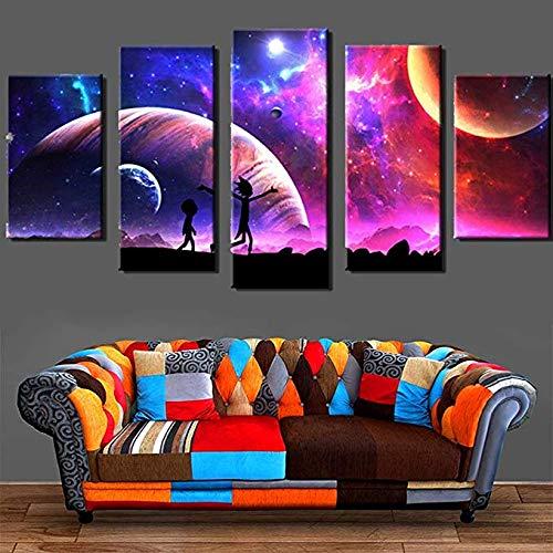 HD-Drucke Sternenklarer Himmel-Mond-Plakat Segeltuch Gemälde 5 Stücke Rick und Morty Bilder Wandkunst Für Wohnzimmer Wohnkultur,B,30×40×2+30×60×2+30×80×1