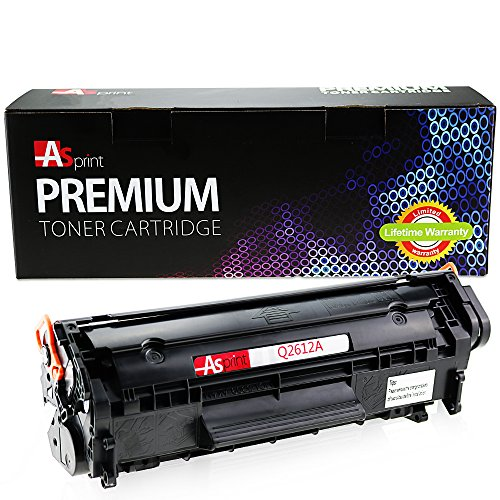 ASprint Compatible Toner Cartridge Replacement for HP Q2612A 12A Black for LaserJet 1010 1012 1015 1018 1020 1022 3015 3020 3030 3050 3050Z 3052 3055 M1005MFP M1319MFP Canon L100 L120 MF4150 MF4370dn