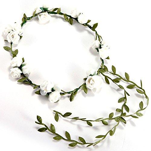 NEYOANN Diadema con 3 flores y banquetes para el pelo, accesorios para la boda y la cabeza de flores, color blanco