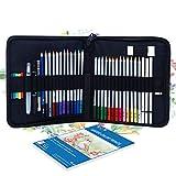Haorw Lápices de Colores, 40 Piezas de lápices de Colores solubles en Agua Kit de Cuaderno Suministros de Arte