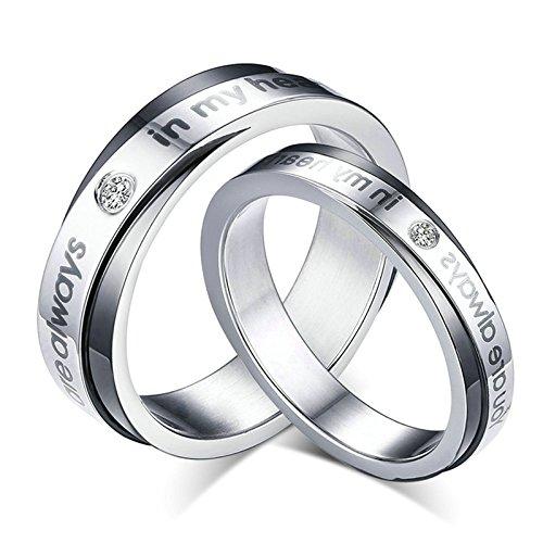 Daesar 2 X Anello Matrimonio Con inciso Argento Anelli Collane Cubic Zirconia 5 / 6MM 17 & Uomo 30