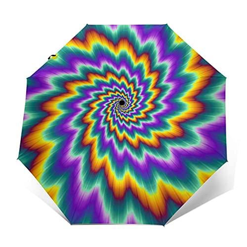 DXZ-Design Paraguas Plegable Compacto de Viaje, Sol, Lluvia, a Prueba de Viento, niños, Mujeres, Hombres, arcoíris, pulsantes, espirales ardientes, Remolino psicodélico