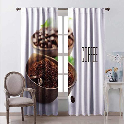 Cortina opaca para café, café molido en cuenco de madera, diseño vintage, 2 paneles de 63 x 84 pulgadas, marrón, verde y blanco
