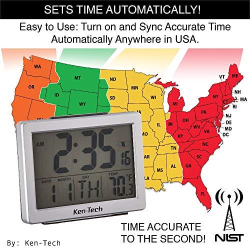 Ken-Tech T-4652 Atomic Radio Controlled LCD A larm Clock, 1.5-Inch, Black Blue Light