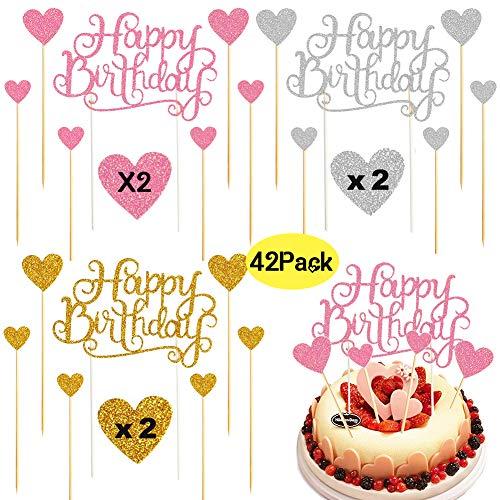 BESLIME Alles Gute zum Geburtstag Kuchen Topper, 42 StückeGlitter Geburtstag Cupcake Picks Torte Topper Picks für Geburtstagsfeier Dekoration