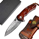 AUBEY Damast Taschenmesser Klein, VG10 Klappmesser Damast mit Holzgriff, EDC Damaststahl Messer, 7,5 cm Klinge
