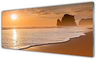 Verre 125x50 XL Paysage Orange Panorama la fresque photos de deco Modern