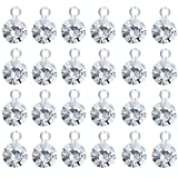FAFAHOUSE 120Pcs Birthstone Charms April Diamond Pendants Gold Plated Brass Crystal Beads for Bracelet Necklace Jewelry Craft Making(5mm)