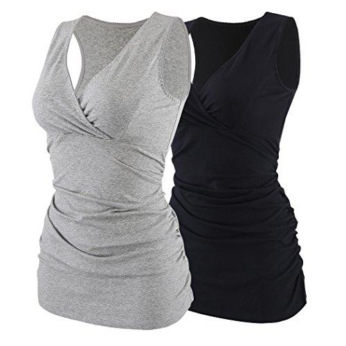 ZUMIY Still-Shirt/Umstandstop, Schwangeres Stillen Nursing Schwangerschaft Top Umstandsmode Unterwäsche, Black grey/2-pk, S