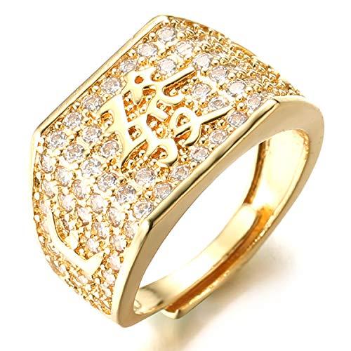 Halukakah ● Oro Bendiga Todo ● Hombres Anillo Chapado en 18K Oro Real con Diamantes Kanji Rico+Suerte+Riqueza Tamaño Ajustable con CajaDeRegaloGRATIS (Rico Annello con Diamantes)