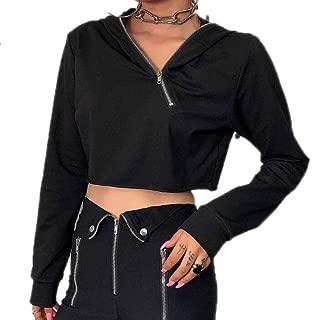 huateng Tuta Riflettente per Donna Top Crop Riflettente e Pantaloni Set da 2 Pezzi