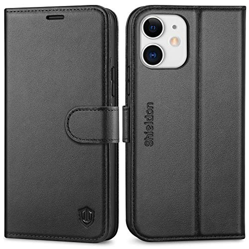 SHIELDON iPhone 12 Hülle, Handyhülle iPhone 12 Pro [100prozent Echtleder] [4 Kartenfächer] [Verdichtes TPU] [Magnet] [Stand], RFID Stoßfeste Schutzhülle Kompatibel für iPhone 12/12 Pro 5G 2020 (6,1) Schwarz