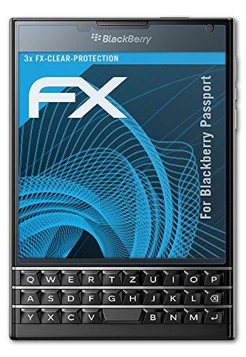 atFolix Schutzfolie kompatibel mit BlackBerry Passport Folie, ultraklare FX Bildschirmschutzfolie (3X)