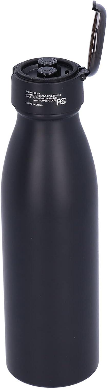 Botella de vacío, botella de agua de acero inoxidable de 600 ml, tecnología gratuita separada para oficina, hogar, viajes al aire libre para deportes y fitness(negro, Tipo de torre inclinada de Pisa)