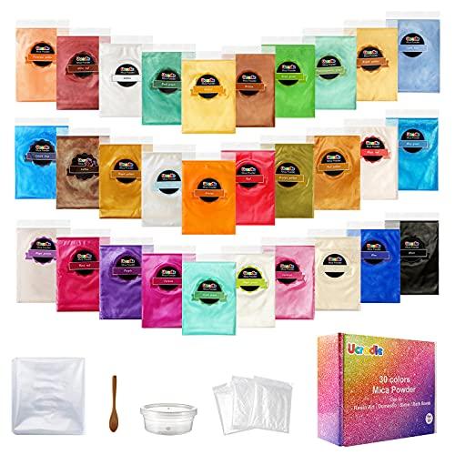 Ucradle Epoxidharz Farbe, 30er*5g Mica Pulver, Seifenfarbe Set Pigmente Pulver, Metallic Farbe Resin Farbe, für Seife Kunstharz Gießharz Malerei DIY