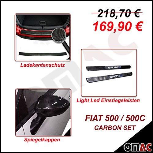 Echt Carbon Set Ladekantenschutz & Einstiegsleiten & Spiegelkappen Spiegelabdeckung Spiegelblenden für FIAT 500 500C