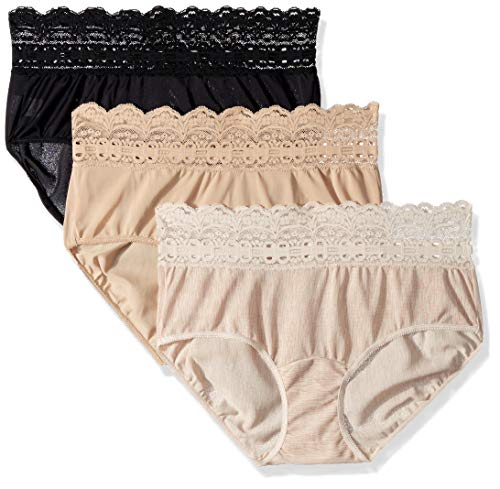 Olga Women's Secret Hugs 3 Pack Hipster Panty, French Toast/Black/Butterscotch Woven Texture Print, L